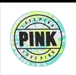 Pink Victoria Secret Round Tie Dye Beach Towel Blu